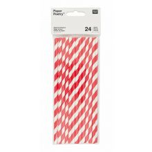 Papier-Strohhalme rot/weiß