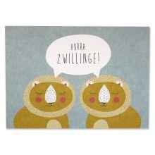 Postkarte Hurra Zwillinge ava und yves
