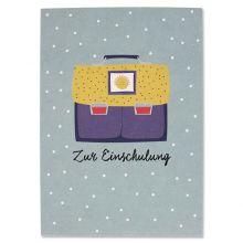 """Postkarte Schulranzen blau/gelb Sonne """"Zur Einschulung"""""""