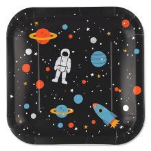 Pappteller Space Süßer Teller aus Pappe mit einem Motiv von ava&yves.  Inhalt: 8 Teller Durchmesser: ca. 22,5 cm
