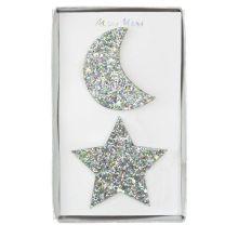 Meri Meri Haarspangen Mond und Stern glitzernd