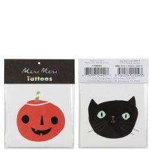 Meri Meri Tattoos Halloween Kürbis und Katze