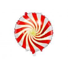 Folienballon Candy rot-weiß-gold
