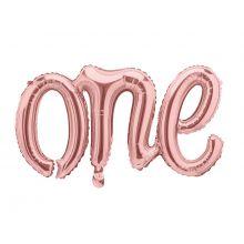 Folienballon Schriftzug One in rosègold