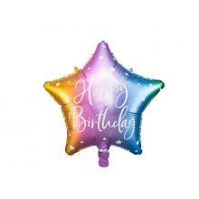 Folienballon Stern Happy Birthday pastell Regenbogen