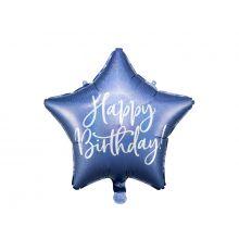 Folienballon Stern Happy Birthday blau metallic