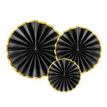 Rosetten-Set schwarz mit Goldrand