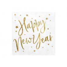 Serviette Happy New Year weiß-gold