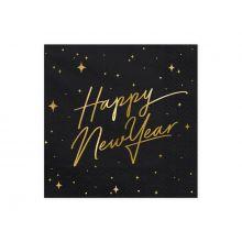 Serviette Happy New Year schwarz