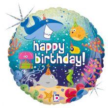 Folienballon Happy Birthday, Ozean