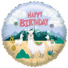 """Folienballon """"Happy Birthday"""" Lama"""