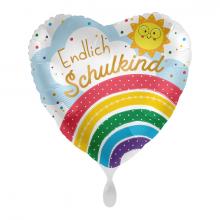 Folienballon Endlich Schulkind Regenbogen Herz