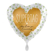 Folienballon Herz Supertag Alles Liebe zur Einschulung Herz