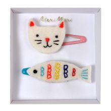 Meri Meri Haarspangen mit Motiv Katze und Fisch