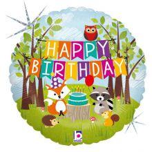 Folienballon Happy Birthday Waldtiere