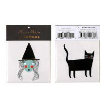 Halloween Tattoos Hexe und katze