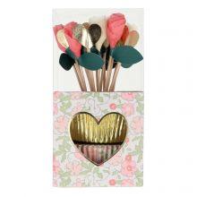Meri Meri Cupcake Set Valentines Blumen und Herzen