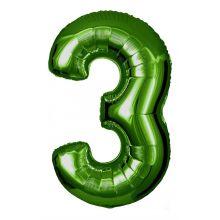 Folienballon Zahl 3 grün