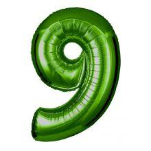 Folienballon Zahl 9 grün