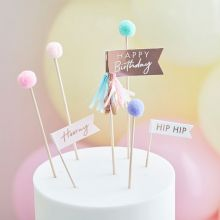 Ginger Ray Pom Pom Happy Birthday Cake Topper