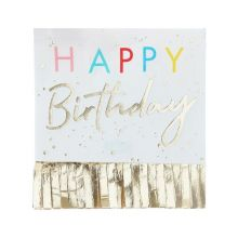 Ginger Ray Serviette Happy Birthday mit goldenen Fransen