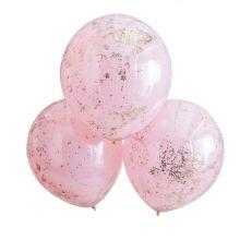 Ginger Ray Doppellagige Rosa Rosègold Glitter Luftballons