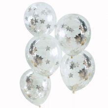 Ginger Ray Konfetti-Ballons mit Silbernen Sternen