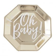 Oh Baby Pappteller von Ginger Ray für die Baby-Shower