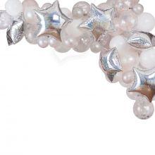 Ballongirlande silber-weiß-Sterne