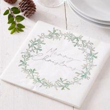 Serviette Merry Christmas mit Mistelzweig-Kranz