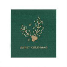 Serviette Merry Christmas grün