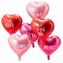 Herzballon-Mix in rosa, rot und pink freigestellt