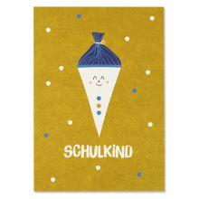 """PostkarteSchultüte, gelb - """"Schulkind"""""""