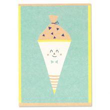 Postkarte Schultüte, mint – Schulkind Ava und Yves