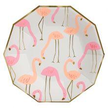 Pappteller Flamingo groß