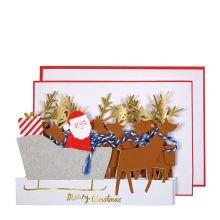 Meri Meri Weihnachtskarte Santa mit Rentieren