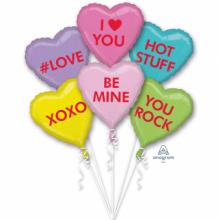 Ballon-Strauß Herzen mit Schriftzügen in Trendfarben