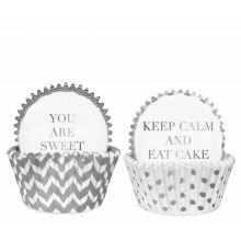 "Muffin-Förmchen weiß-silber DELIGHT Department mit Schriftzügen ""You Are Sweet"" and ""Keep Calm And Aat Cake"""