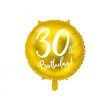 Folienballon 30th Birthday rund gold