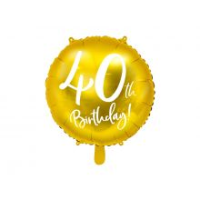 Folienballon 40th Birthday rund gold