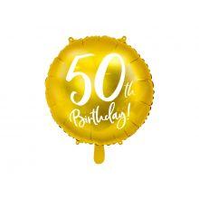 Folienballon 40th Birthday rund gold