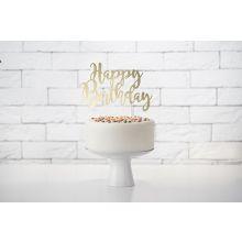 Caketopper Happy Birthday gold