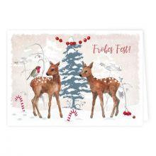 Weihnachtskarte Rehe im Winterwald