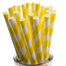 Papierstrohhalme gelb-weiß gestreift