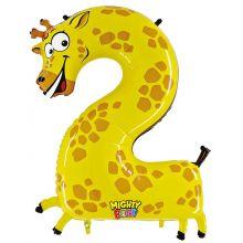 Folienballon Zahl 2 Giraffe