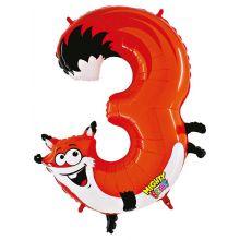 Folienballon Zahl 3 Fuchs