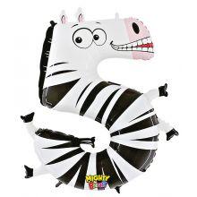 Folienballon Zahl 5 Zebra