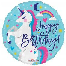 Folienballon Happy Birthday Einhorn