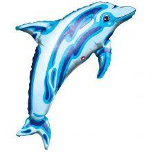 Folienballon Delphin blau