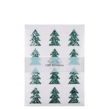 Meri Meri Glitzer-Sticker Tannenbäume grün